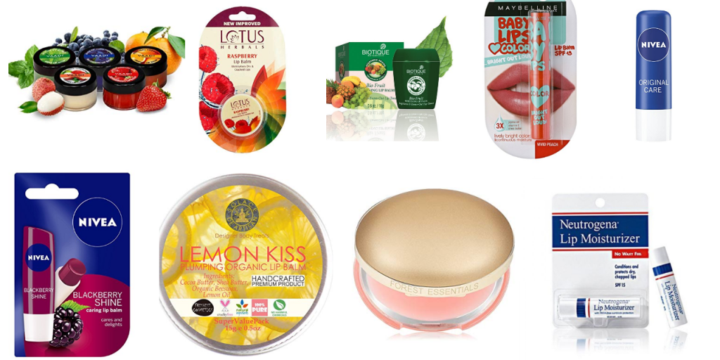 Selection of lip care products
