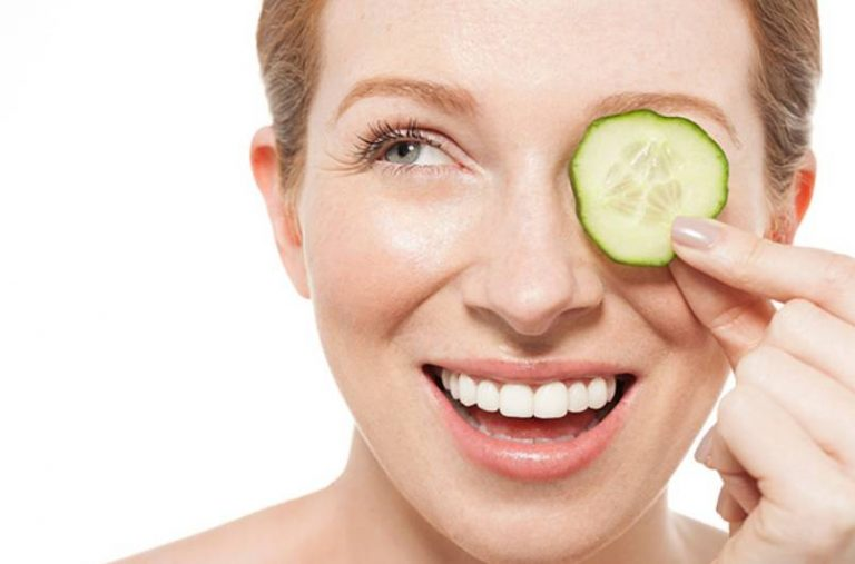 Beauty with cucumbers